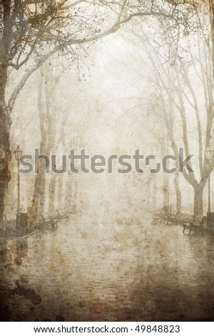 View at alley in fog. Photo in old image style. - stock photo