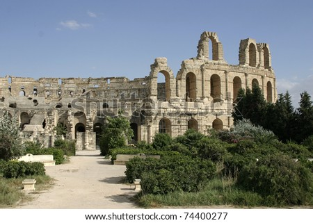 View at amphitheater in El Jem, Tunisia