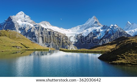 View at Bachalpsee during hike from First towards Grindelwald (Switzerland). The hiking trail is very famous. Great views are enjoyed along the way towards mountains like the Eiger, Monch and Jungfrau