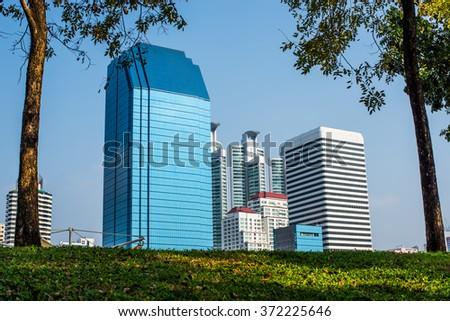 View at Benjakiti Park in Bangkok, Thailand  - stock photo