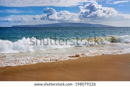 view at Big Beach, Makena, Maui - stock photo