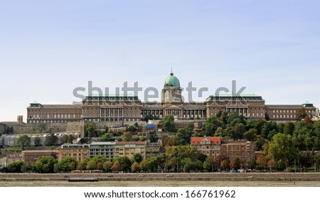 View at Buda castle from Danube river in Budapest - stock photo