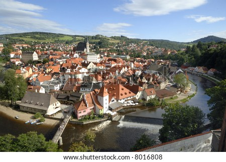 View at Cesky Krumlov in Czech Republic. This is an UNESCO World Heritage site