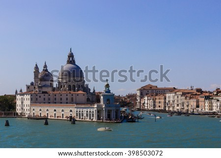 view at Churches at St Marco piazza in Venice, Italy from Grand canal - stock photo