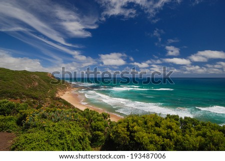 View at coast by Great Ocean Road, Australia - stock photo