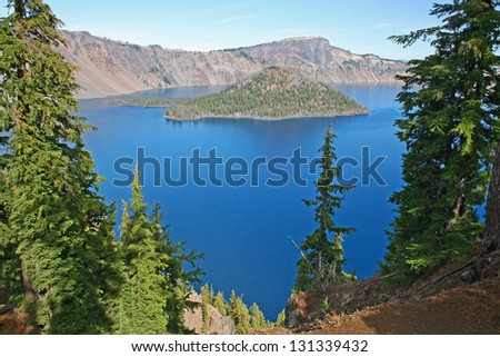 View at Crater Lake and Wizard Island, Oregon. Crater Lake National Park. - stock photo
