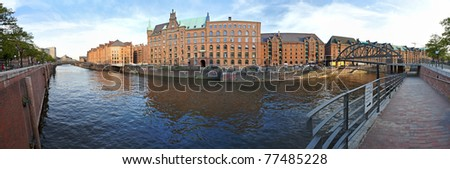 View at Hamburger Speicherstadt, a historic part of the city for storing goods near the harbor, Hamburg - stock photo