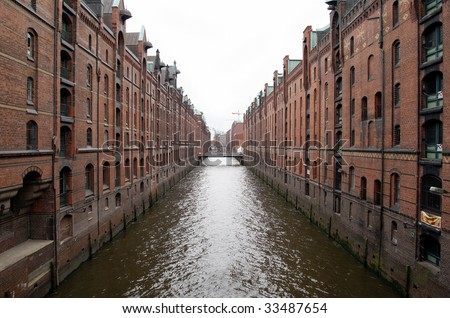 View at 'Hamburger Speicherstadt', a historic part of the city for storing goods near the harbour, - stock photo
