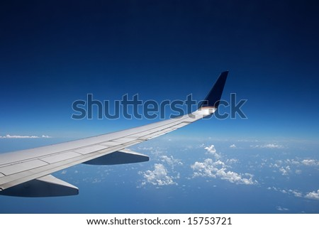 View at high altitude, with sky as copy-space. - stock photo
