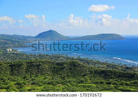 View at Koko Crater from Diamond Head , Oahu, Hawaii - stock photo