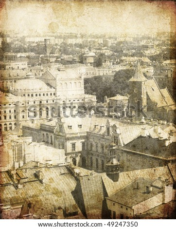 View at Krakow, Poland. Photo in old image style. - stock photo
