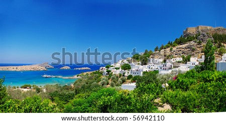 View at Lindou Bay from Lindos  Rhodes island, Greece. - stock photo