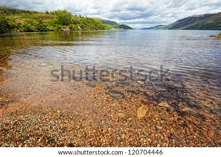 View at Loch Ness , the most famous scottish lake, Fort Augustus, Scotland - stock photo