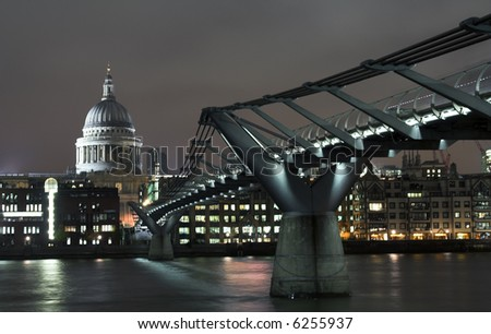 View at Millennium bridge and St. Paul cathedral in London in the night - stock photo