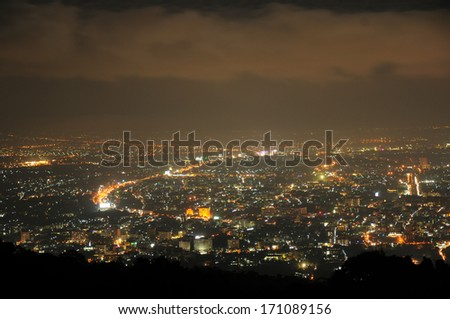 view at night with lights and urban-thailand for backgrounds