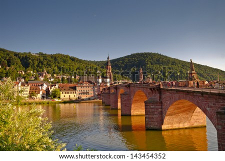 View at old town, castle and city bridge in Heidelberg - stock photo