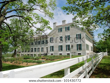 View at Shaker Village in Kentucky / Fence Line - stock photo