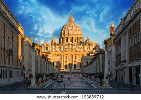 view at St. Peter's Basilica in Rome, Italy  - stock photo
