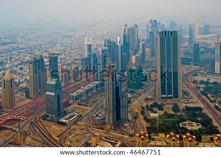 View at the area of Sheik Zayed Road in Dubai
