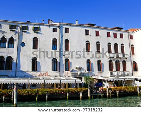 View at the beautiful architecture from water of Grand Canal in Venice, Italy - stock photo