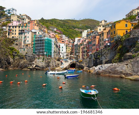 view  at the Cinque Terre,  italy  - stock photo