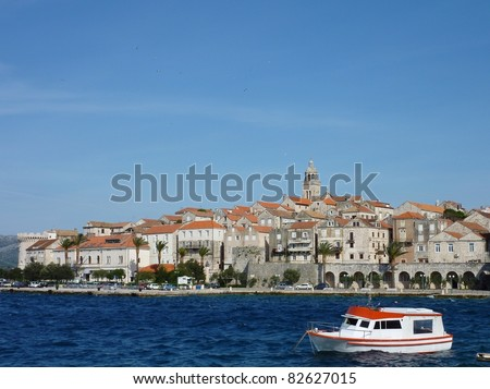 View at the historic city Dubrovnik at the Adriatic sea in Croatia - stock photo