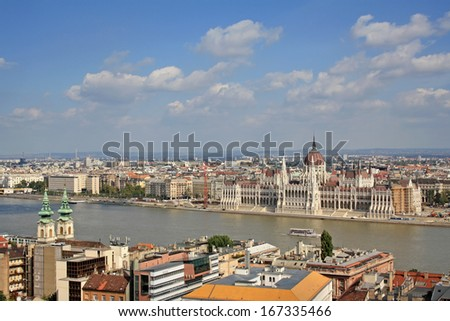 View at the Hungarian Parliament Building and Danube river in Budapest - stock photo