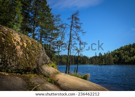 view at the lake from the rock near it - stock photo