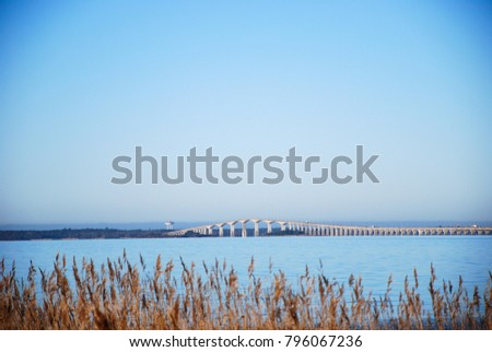 View at the Oland Bridge in Sweden. The bridge connects the island Oland with mainland Sweden.