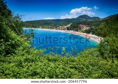 View at Valtos beach in Parga, Greece.  - stock photo