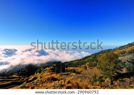 View atop on Rinjani volcano, Indonesia