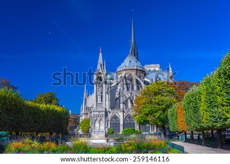 View beautiful Notre Dame Cathedral with garden and flowers in Square du Jean XXIII, Paris, France. - stock photo