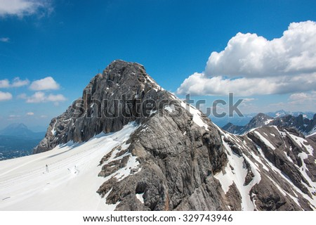 View beauty, inspiring closeup Alpine rocks, fresh clear blue sky, cloudless. Top, on peak of Dachstein, national park Austria, Europe. Winter, summer day time. skiing, snowboarding. poster image - stock photo