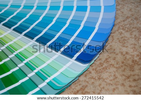 view blue palette of colors and shades. close up - stock photo