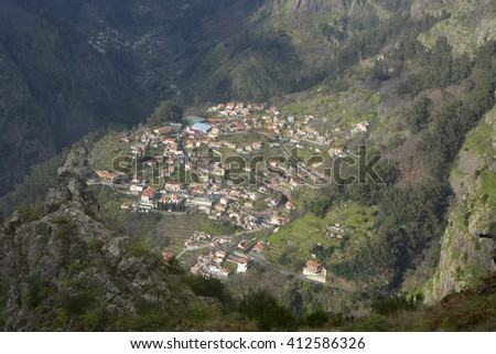 View down into the Nun's Valley in Madeira, Portugal - stock photo