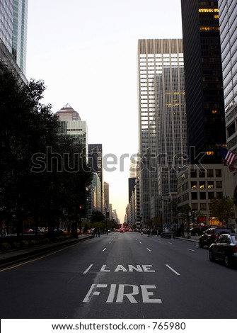 View down park avenue corner of 50th street, manhattan, new york, america, usa - stock photo