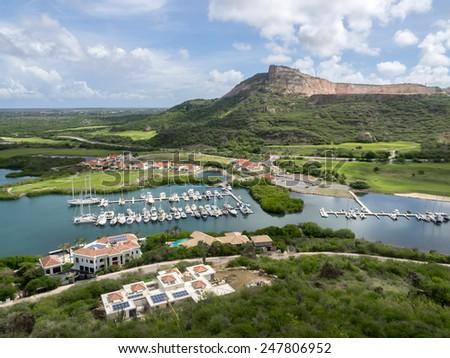View down to Santa Barbara Curacao   in the Dutch Antilles a Caribbean Island - stock photo