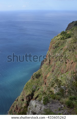 View down to sea from Cabo Girao in Madeira, Portugal. (one of the highest cliffs in the world 590 metres)