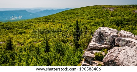 View east of the Appalachians from Bear Rocks, in the high Allegheny Mountains of Dollys Sods Wilderness, Monongahela National Forest, West Virginia. - stock photo