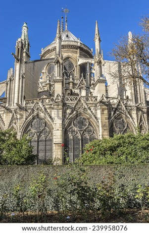 View east side of Cathedral Notre Dame de Paris - a most famous Gothic, Roman Catholic cathedral (1163 - 1345) on the eastern half of the Cite Island.