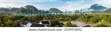 View for panorama in Vang Vieng, Laos. - stock photo
