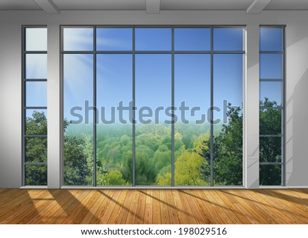 View from a big window - stock photo