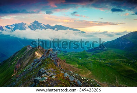 View from a bird's eye of Grossglockner High Alpine Road in the early morning. Austria, Alps, Europe. - stock photo