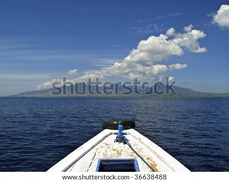 View from a boat to the maint of Bali from the Java Strait