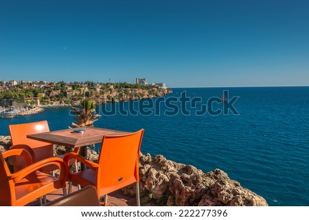 View from a cafe at old harbor and downtown Marina in Antalya, Turkey, 2014 - stock photo