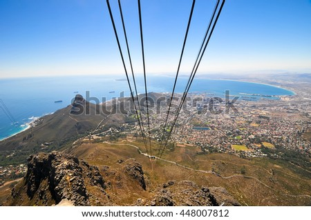 View from a gondola climbing up Table Mountain in Cape Town, South Africa. - stock photo
