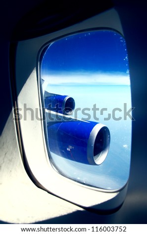 View from a jet plane window - stock photo