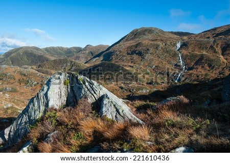 View from a mountain nearby Bergen city. - stock photo