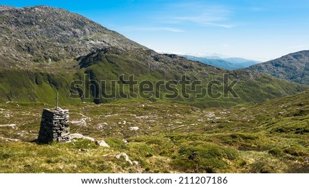 View from a mountain outside Bergen city in Norway - stock photo