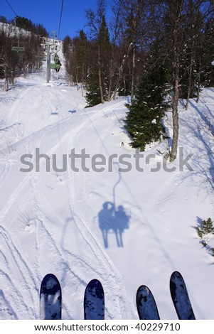 View from a ski lift - stock photo
